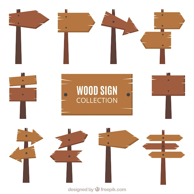 Collection Of Wooden Signs In Flat Design Free Vector