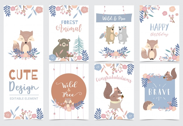 Collection of woodland cards set Premium Vector
