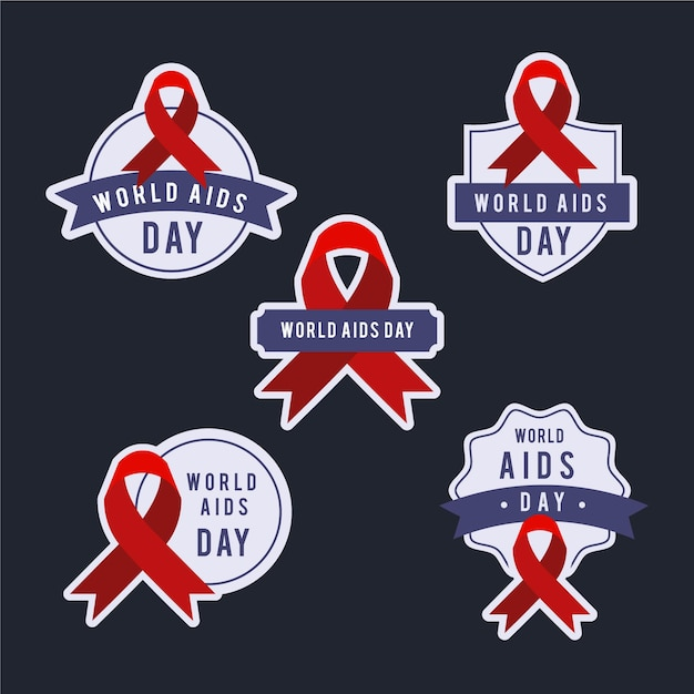 Collection of world aids day badges Free Vector
