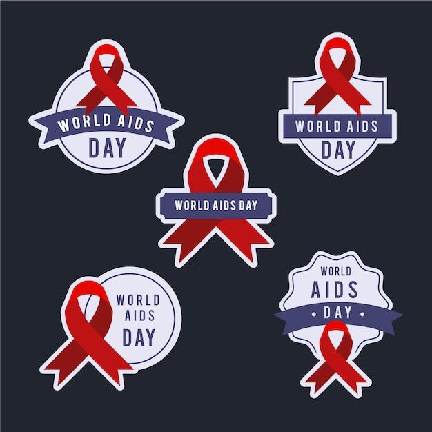 Collezione di badge per la giornata mondiale contro l'aids Vettore gratuito