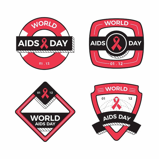 Collection of world aids day ribbons badges Free Vector