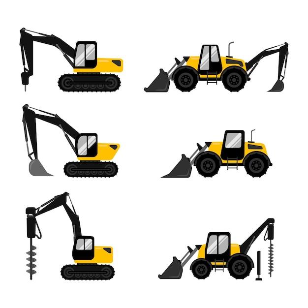 Collezione di escavatori gialli e neri Vettore gratuito