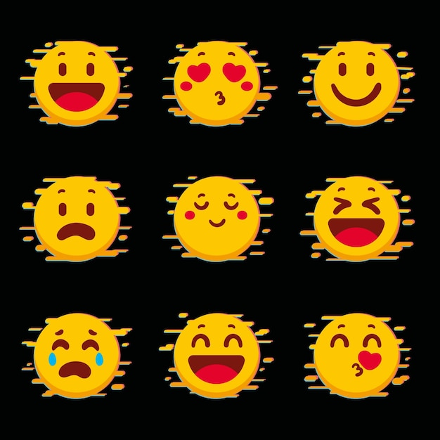 Collection of yellow glitch emojis Free Vector
