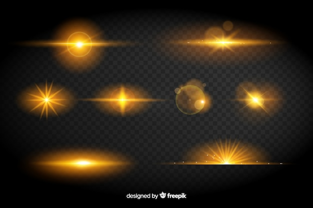 Collection of yellow lights effect Free Vector