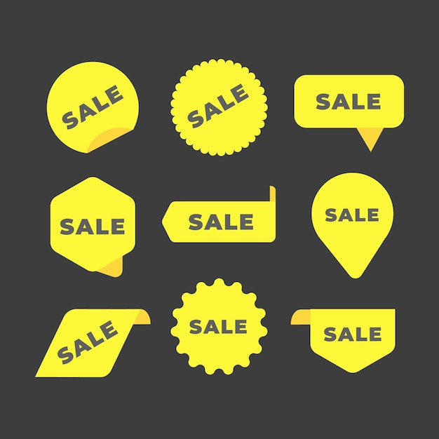 Collection of yellow sales label collection Free Vector