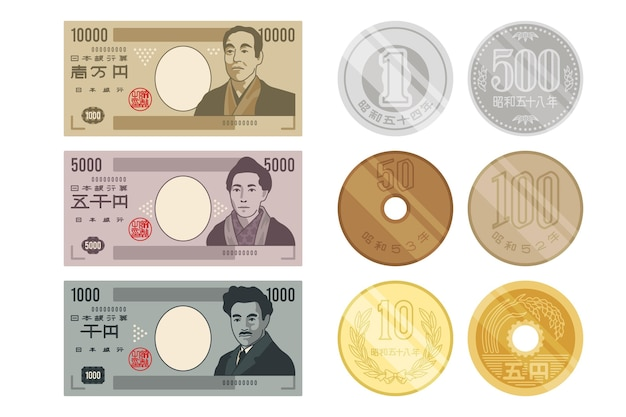 Collection of yen banknotes and coins Free Vector