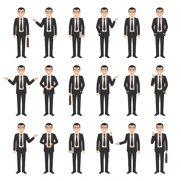 Collection of a young cartoon style smiling businessman Premium Vector