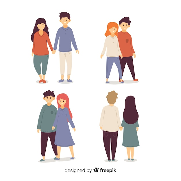 Collection of young couples walking Free Vector