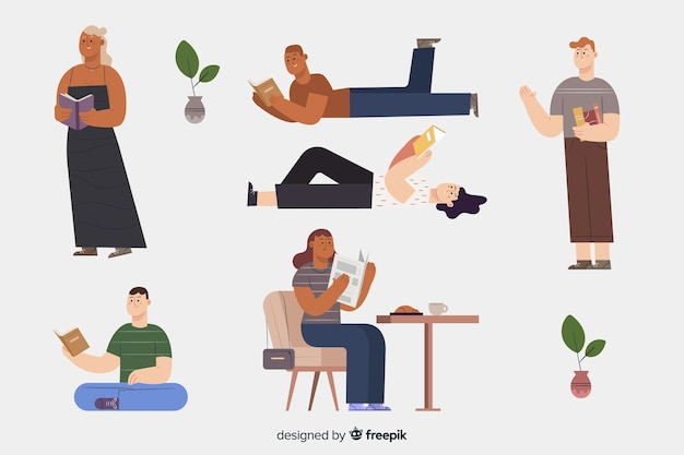 Collection of young men and women reading Free Vector