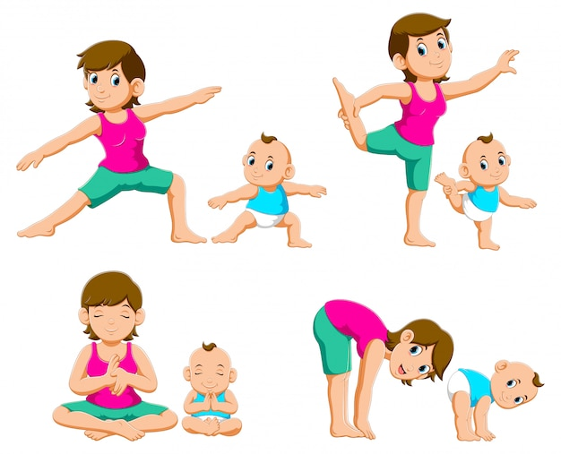 Collection of young mothers and their babies doing yoga exercises Premium Vector