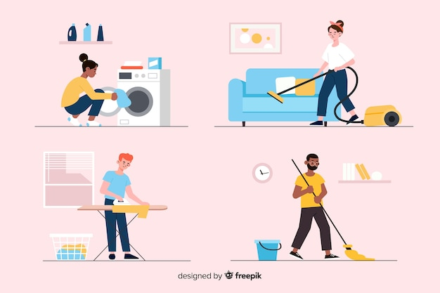 Collection of young people cleaning the house Free Vector