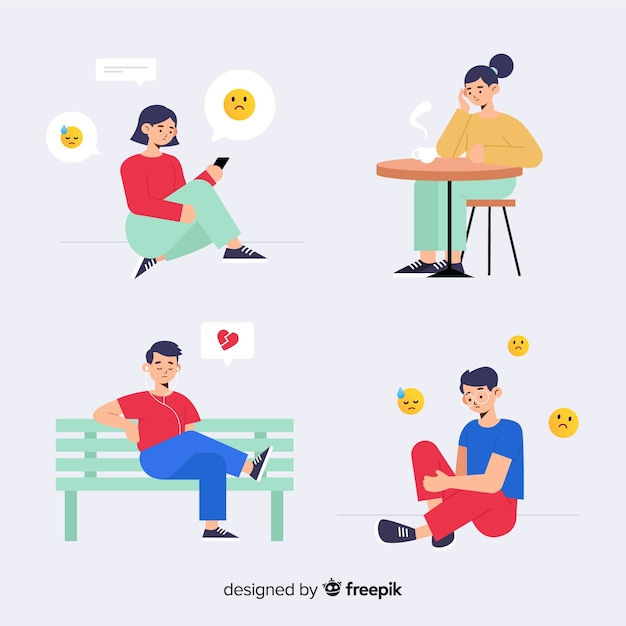Collection of young people emotions Free Vector