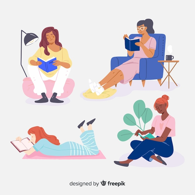 Collection of young people reading Free Vector