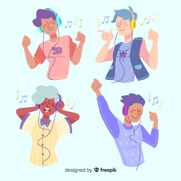 Collection of young people with headphones Free Vector