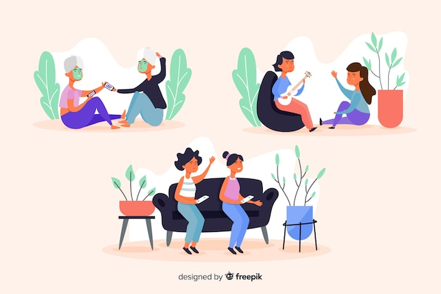 Collection of young women hanging out Free Vector