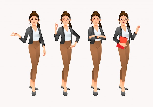 Collection of young women wearing office suits Premium Vector