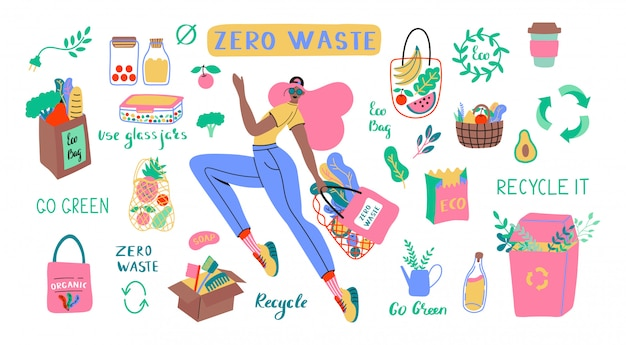 Collection of zero waste durable and reusable items or products - glass jars, eco grocery bags, wooden cutlery, comb, toothbrush and brushes, thermo mug. flat   set illustration Premium Vector