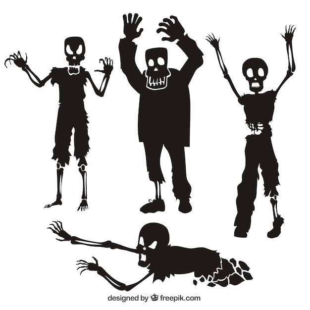 Collection of zombie silhouettes Premium Vector