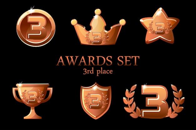 컬렉션 어워드 트로피. 브론즈 어워드 아이콘 세트, 3 위 우승자 배지, 트로피 컵 상, 우승 보상, 성공 왕관 프리미엄 벡터