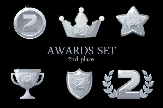 컬렉션 어워드 트로피. 실버 어워드 아이콘 세트, 2 위 우승자 배지, 트로피 컵 상, 우승 보상, 성공 왕관, 일러스트레이션 프리미엄 벡터