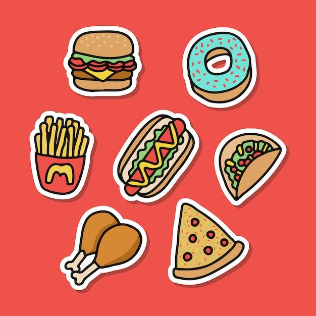 Collections junk food sticker good for print design Premium Vector