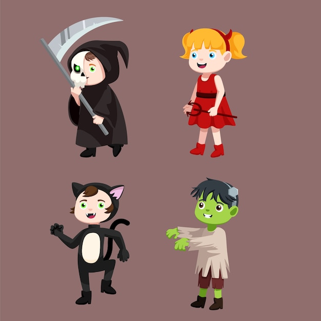 Collections of kids wearing costumes Premium Vector