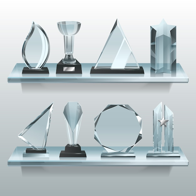 Collections of transparent trophies, awards and winner cups on shelf of glass. Premium Vector