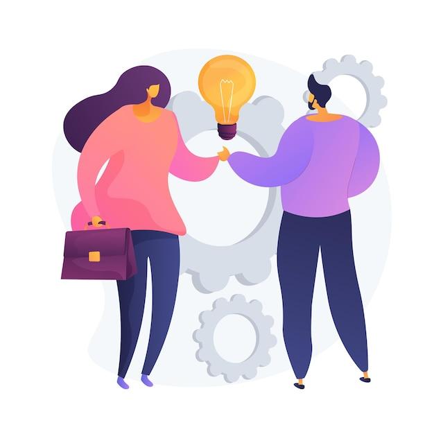 Коллективное творчество. коллеги пожимают друг другу руки. партнерская работа, сотрудничество коллег, ведение бизнеса. креативное мышление, обмен опытом. векторная иллюстрация изолированных концепции метафоры Бесплатные векторы