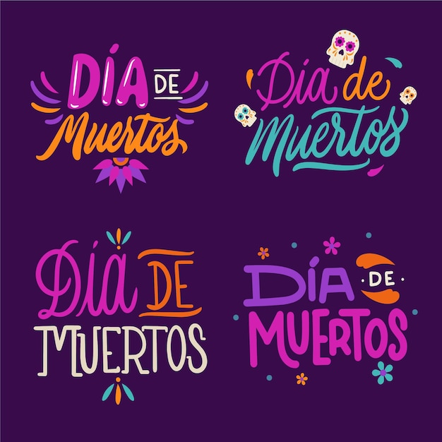 Collecton of dia de muertos badge in flat design Free Vector