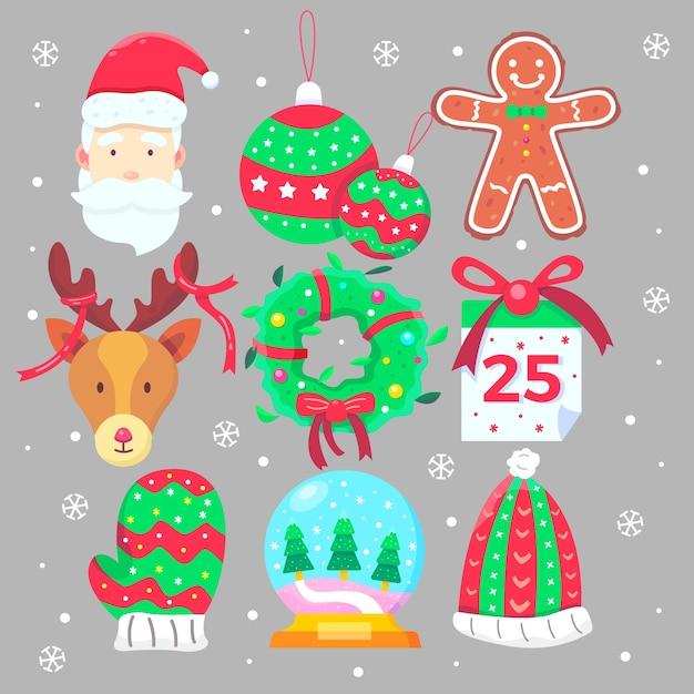 Коллекция рождественских элементов в плоском дизайне Бесплатные векторы
