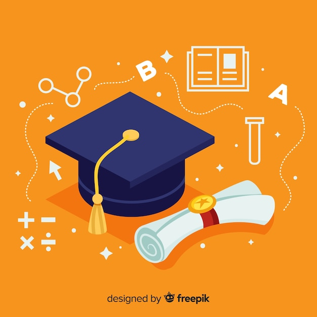 college background with mortarboard vector free download