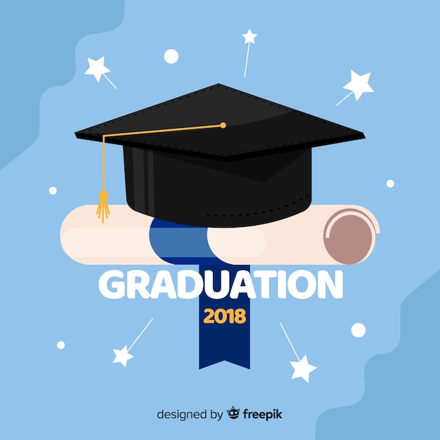 College background with mortarboard Free Vector
