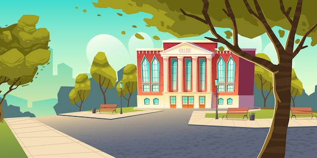 College building, educational institution banner Free Vector