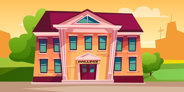 College building illustration for education. Free Vector