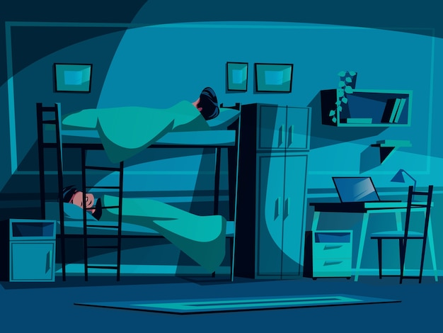 College dormitory illustration of classmates sleeping on bunk bed at night. Free Vector