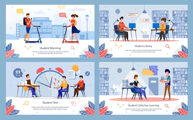 College education situations vector banners set Premium Vector