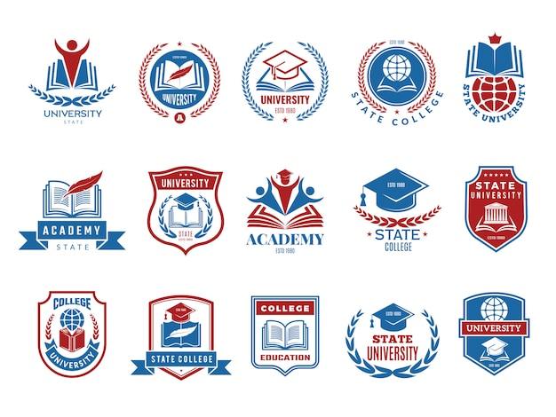 College emblem. school or university badges and labels logotype collection Premium Vector