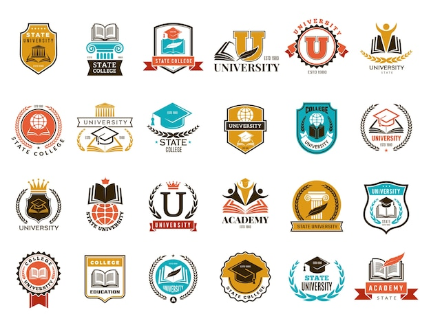 College emblem. school or university identity symbols badges and logo collection. college and school, university emblem illustration Premium Vector