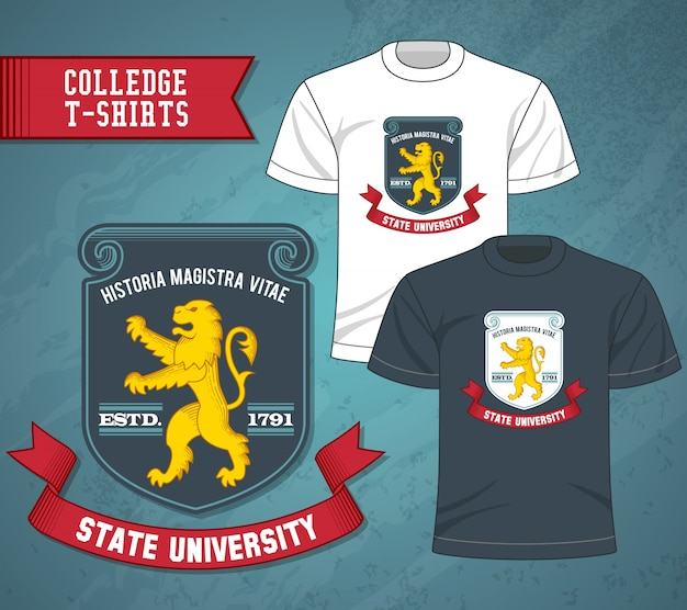 College labels t-shirts Free Vector