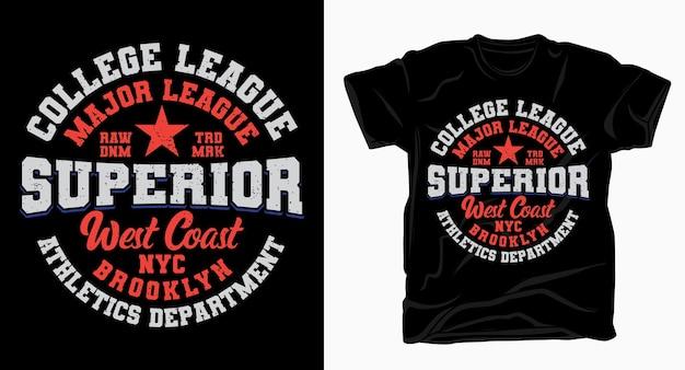 Дизайн типографии для футболки высшего учебного заведения лиги колледжа Premium векторы