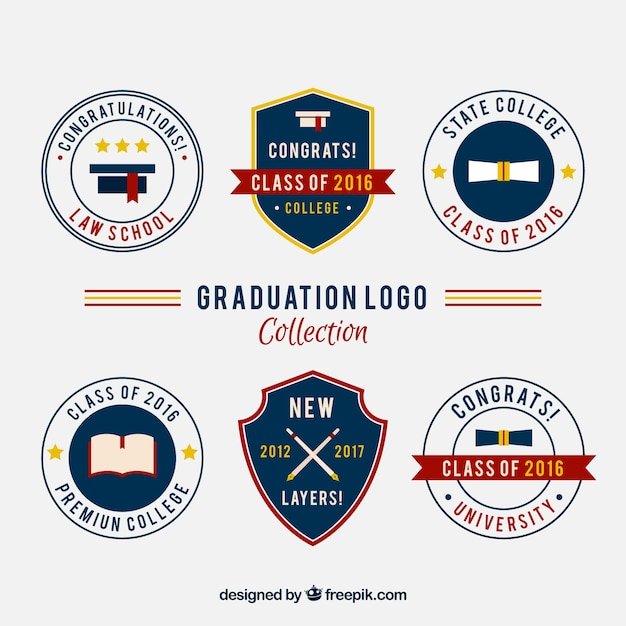 college logos set in vintage style vector free download