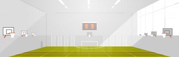 대학 또는 학교 체육관 빈 사람 없음 현대 스포츠 홀 복잡 한 인테리어 평면 수평 프리미엄 벡터