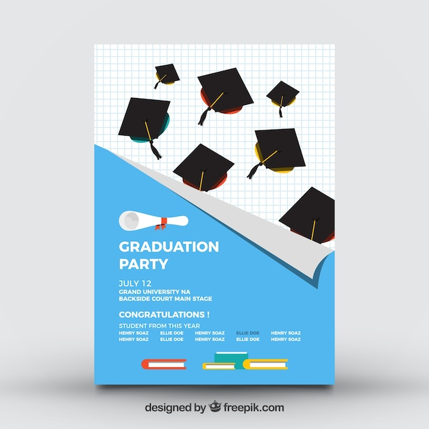 College Brochure | College Party Brochure With Mortarboards Vector Free Download