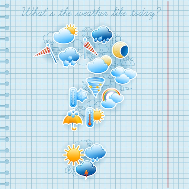 College squared notebook page day weather forecast symbols labels and pen ink sketch composition abstract Free Vector