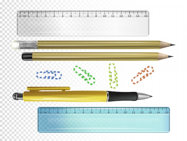 College stationery illustration of 3d ink pen, pencils with erasers and rulers or paper clips Free Vector