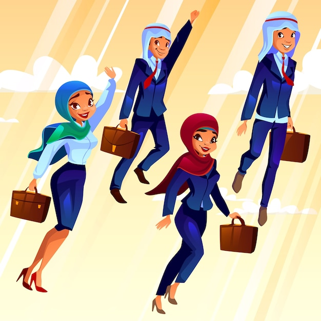 College students with bags flying in the sky, concept of education of young people. Free Vector