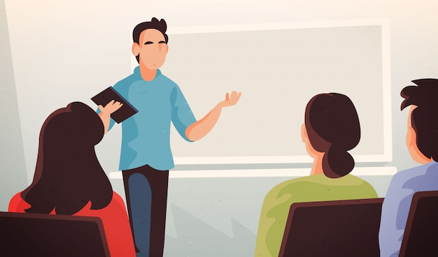 College teacher illustration with alumns Premium Vector