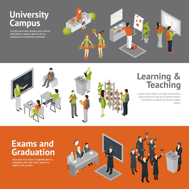 College university isometric banners Free Vector