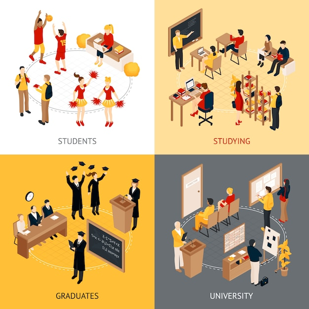 College and university isometric character set Free Vector