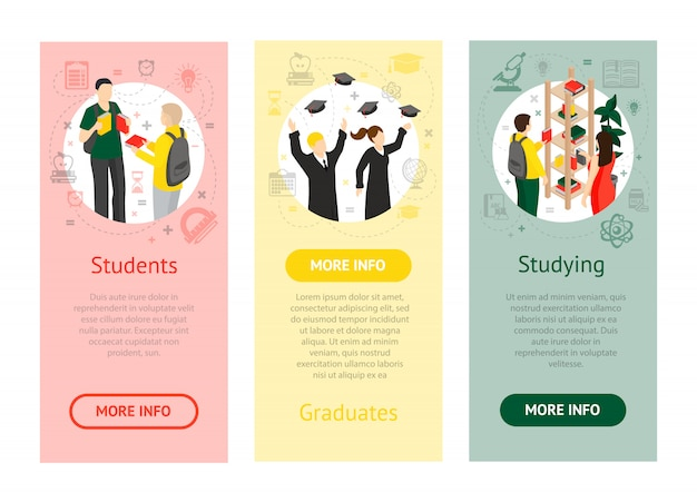 College university isometric vertical banners Free Vector